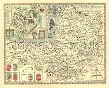 Somerset Replica Speed Old  map  c.1610.Full Size Printed Copy  unique GIFT idea