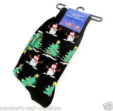 Christmas Snowman Mens Womens Socks Novelty Fun Black Casual Fashion Holiday New