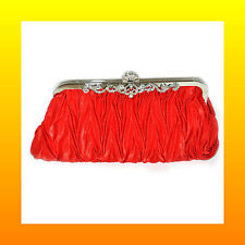 Ladies Satin Pleated Diamante Bridal Prom Evening Party Wedding Purse Clutch Bag
