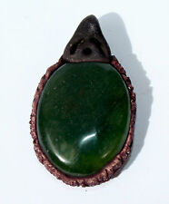 Green Agate Crystal Oval Pendant with Reiki Distance Healing Symbol +Gift Bag