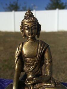 Heavy Brass Antique MEDICINE BUDDHA Statue Mudra Bhaisaya Bodhisatwa Display
