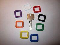 8 x Schlüsselkennringe eckig bunt sortiert,  Kennring Schlüsselkappe   6001.99