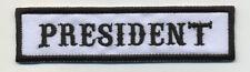president patch badge car club motorcycle biker MC vest jacket white black