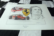 FERRARI 312T 4 126C GILLES VILLENEUVE 1979 NEW PAINTING PRINT PORTRAIT ART DUGAN