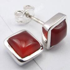 .925 Sterling Silver RED CARNELIAN GEMSTONE Studs Earrings 0.8 CM 2.7 Grams NEW