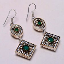 Vintage ! Turkish 925 Sterling Silver Plated Emerald Topaz Earrings Sz 2.60""