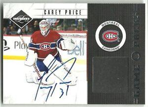 2011-12 Limited Game Pucks Signatures #10 CAREY PRICE HARD SIGNED AUTO SP /20