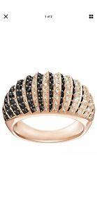 NIB $169 Swarovski Luxury Dome Ring Black Rose Gold Plated Size 55