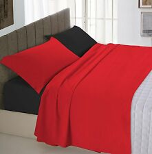 Set lenzuola sopra sotto e federe doubleface rosso/nero - 1 Piazza e Mezzo