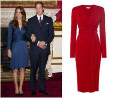BNWT ISSA Royal Engagement Red Cocktail Midi Katie Tie Wrap Tea Dress Size UK 16