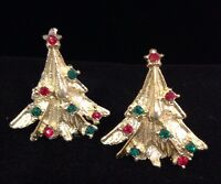 Vintage Christmas Tree Textured Gold Tone Earrings Crystal Holiday  Jewelry 4O