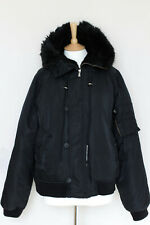 VERSACE COUTURE JEANS black wool faux fur hooded oversized bomber jacket Large L