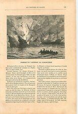 Bataille Navale La Cordelière François Ier Charles-Quint 19th XIX GRAVURE PRINT
