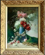 19th CENTURY HUGE FRENCH OIL ON CANVAS - FLOWERS & RIBBONS ON VASE - SIGNED