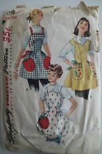 Vintage Simplicity 1756 Women Bib Apron Sewing Pattern 1950's Cut One Size