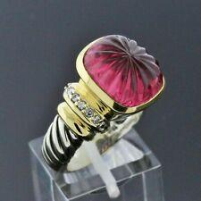 Vintage David Yurman Silver 18K Gold Carved Pink Tourmaline Diamond Ring Size 8