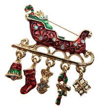Ella Jonte Brosche Weihnachten gold rot grün Schlitten Weihnachtsbrosche Nadel