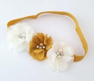 Mustard Gold and Ivory Flower Girl Headband