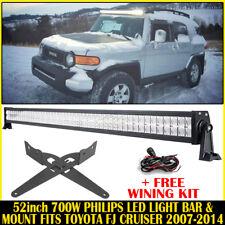 52inch 700W LED Work Light Bar + Mount Bracket Fits Toyota FJ CRUISER 2007-2014