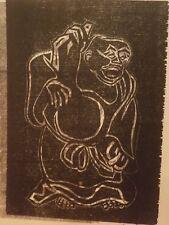 Buddha Woodcut/Nude Drawing on Back 1958-Israel Louis Winarsky