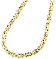 "10K Yellow Gold 3mm Hollow Box Byzantine Link Chain Necklace 20""  20 Inches Mens"