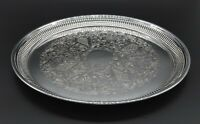 LARGE VINTAGE SERVING DISH CHARGER DRINKS TRAYGADROONED SILVER PLATED SHEFFILED