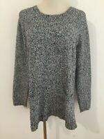 J.Jill Crewneck Cotton-Blend Tunic Sweater Gray Heather Size S