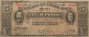 1915 Mexico El Estado de Chihuahua 5 Pesos Note Serie H