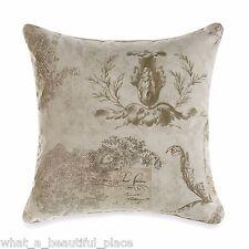 """18"""" Vintage Floral Square Decorative Toss Pillow Shabby Chic French Script Paris"""