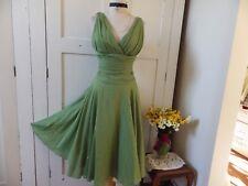 PRETTIEST ORIANNE SILK & COTTON MONSOON UK SUMMER SWING DRESS -APPLE GREEN 8, 10