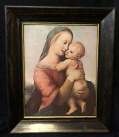 Vintage Tempi Madonna by Raphael Print Vintage Gilded Wood Frame Mary & Jesus
