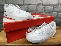 NIKE UK 12.5 EU 31 AIR FORCE 1 LOW TAPE WHITE DOUBLE TRAINERS CHILDRENS GIRLS C