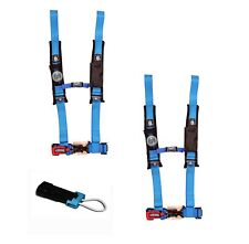 "Pro Armor 4 Point Harness 2"" Pads Seat Belt PAIR BYPASS BLUE Commander Maverick"