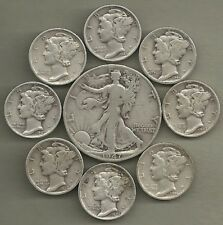 Walking Liberty Half & Mercury Dimes - 90% Silver - US Coin Lot - 9 Coins #4017