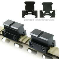 "2 PCS Flat Top 1"" Rail Riser Block Mount for Pictinney & 11mm Dovetail Rail"