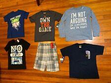 Lot of 6 Pcs Boys Sz 10-12 Various Brands: 5pcs T-Shirts and 1pcs Shorts