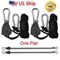 Pair 1/8 Hydroponic Adjustable Grow Light YOYO Hanger Heavy Duty Ratchets Rope