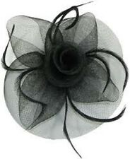 Black Net and Feather Wedding Fascinator Hair Clip Brooch Pin