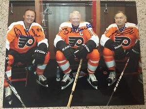 FLYERS LCB LINE BOBBY CLARKE BILL BARBER REGGIE LEACH SIGNED 8X10 #1 STANLEY CUP