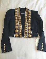 Balmain Black Crystal Embellished Red Gold Jacket Dress Blazer BNWT UK 8 FR 36