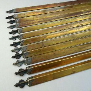 "12 ~ Antique Brass Stair Rods ~ Triangular 24"" long ~ Antique / Edwardian"