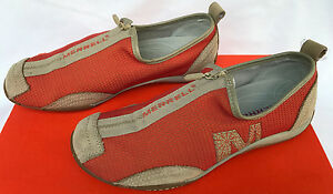Merrell Barrado Orange J76402 Pull Zip-Up Comfort Flats Sneakers Shoes Women's 7