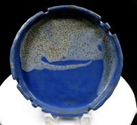"STUDIO ART POTTERY LS SIGNED EARTHENWARE BLUE DRIP GLAZE LARGE 8 5/8"" ASHTRAY"