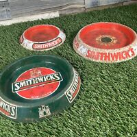 3x Vintage Tin Smithwicks Ashtray - 1980s Retro Pub Beer Man Cave - Glentoran