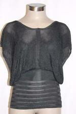 YIGAL AZROUEL Black Sleeveless  Open Back Mesh Knit Top GORGEOUS!