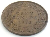 1912 Canada One 1 Cent Large Penny Copper George V Canadian Circulated Coin J989