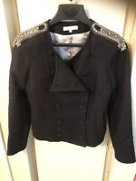 sandro black blazer double breasted shoulders sequined strap sz 38 usa m
