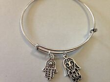 Hamsa Hand Bracelet Charm Bangle SILVER Religious Symbol Faith Evil Eye Luck