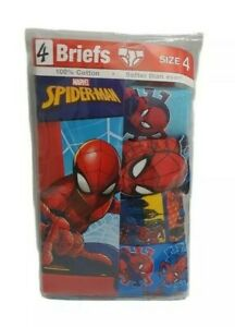 4 Pack Spider-Man Boys Briefs Size 4 Cotton Red Blue Multi Colors Super Hero New