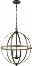 Chandelier 3-Light Weathered Gray Orb Dimmable Adjustable Chain Stardust Finish
